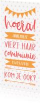 Communiekaarten -  Communiekaart typografisch met slingers en pijlen meisje