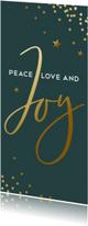 Kerstkaarten - Donkergroene kerstkaart met gouden confetti en Joy