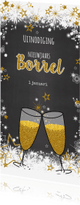 Uitnodigingen - Feestelijke uitnodiging borrel sneeuw en sterren