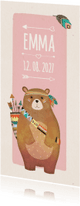 Geboortekaartjes -  Geboorte indiaan beer roze langwerpig - BK
