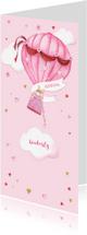 Geboortekaartjes - Geboorte luchtballon hartjes