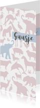 Geboortekaartjes - Geboortekaart Animal Sky tikje retro hippe kleuren