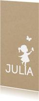 Geboortekaartjes - Geboortekaart langwerpig met silhouet van meisje en vlinder