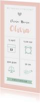 Geboortekaartjes - Geboortekaart langwerpig pictogrammen roze - BC