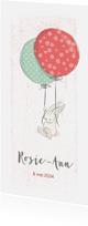 Geboortekaartjes - Geboortekaart meisje, konijn, balonnen