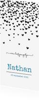 Geboortekaartjes - Geboortekaart met zwarte hartjesregen en blauwe letters