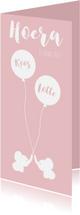 Geboortekaartjes - Geboortekaart Olli roze