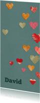 Geboortekaartjes - Geboortekaart voor jongen met gekleurde hartjes