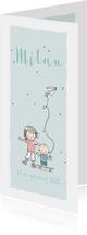 Geboortekaartjes - Geboortekaart zusje met broertje op skate