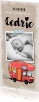 Geboortekaartjes - Geboortekaartje avontuurlijk vintage met illustratie