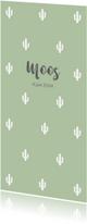 Geboortekaartjes - Geboortekaartje cactus groen langwerpig