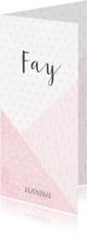 Geboortekaartjes - Geboortekaartje geometrische vormen en confetti meisje