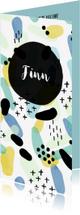 Geboortekaartjes - Geboortekaartje jongen met kleurrijk patroon langwerpig