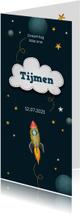 Geboortekaartjes - Geboortekaartje jongen space thema raket en sterren