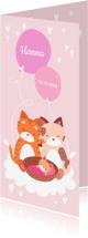 Geboortekaartjes - Geboortekaartje Knuffelkatten meisje