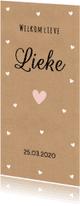 Geboortekaartjes - Geboortekaartje kraft hartjes meisje - LB