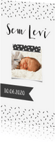 Geboortekaartjes - Geboortekaartje lang Zwartwit label - WW