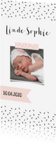 Geboortekaartjes - Geboortekaartje lang zwartwit roze label - WW