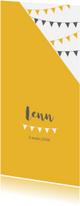 Geboortekaartjes - Geboortekaartje langwerpig geel slinger