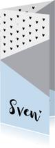 Geboortekaartjes - Geboortekaartje langwerpig grafisch hartjes lichtblauw
