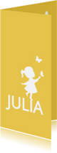 Geboortekaartjes - Geboortekaartje langwerpig met silhouet meisje en vlinder