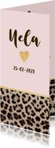 Geboortekaartje langwerpig panterprint hartje