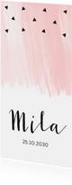 Geboortekaartjes - Geboortekaartje langwerpig waterverf roze driehoekjes