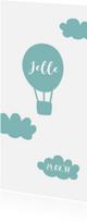 Geboortekaartjes - Geboortekaartje luchtballon wolken illustratie