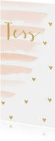 Geboortekaartjes - Geboortekaartje meisje met waterverf strepen en hartjes