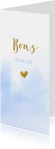 Geboortekaartjes - Geboortekaartje met blauwe waterverf en goud hartje