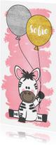 Geboortekaartjes - Geboortekaartje met een lieve zebra en twee ballonnen