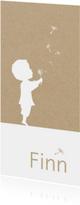 Geboortekaartjes - Geboortekaartje met silhouet jongen en paardenbloempluisjes