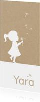 Geboortekaartjes - Geboortekaartje met silhouet meisje en paardenbloem pluisjes