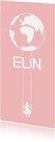 Geboortekaartjes - Geboortekaartje met wereldbol en schommel silhouette meisje