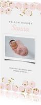 Geboortekaartjes - Geboortekaartje panorama met hexagon en hartjes confetti