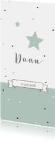 Geboortekaartjes - Geboortekaartje panorama voor jongen met sterren en stippen