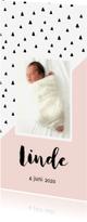 Geboortekaartjes - Geboortekaartje schuine lijn, aanpasbare kleur