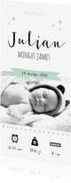 Geboortekaartjes - Geboortekaartje stoer foto zwart wit