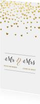 Trouwkaarten - Gouden hartjes trouwkaart