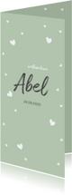 Geboortekaartjes - Groen kaartje met witte hartjes