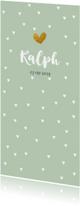 Geboortekaartjes - Groen met witte hartjes