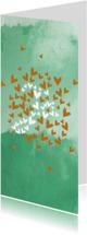 Trouwkaarten - Harten 'Ja' aquarel groenblauw