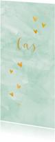 Geboortekaartjes - Hip jongens geboortekaartje gouden hartjes groene waterverf