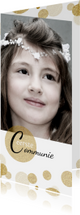 Communiekaarten - Hippe,  communiekaart met  foto en goudkleurige confetti