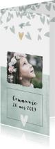 Communiekaarten - Hippe communiekaart voor een meisje met foto en hartjes