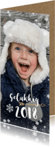 Nieuwjaarskaarten - Hippe langwerpige nieuwjaarskaart met grote foto en 2018