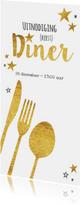 Kerstkaarten - Hippe uitnodiging (kerst) diner bestek goud sterren