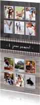 Jubileumkaarten - Jubileum kaart 1 jaar langwerpig met 12 vakjes voor foto's