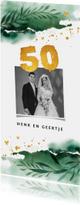 Jubileumkaarten - Jubileum uitnodiging 50 jaar groen waterverf en goud