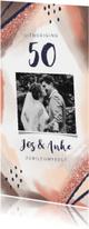 Jubileumkaarten - Jubileum uitnodiging abstract met hippe kleuren en foto